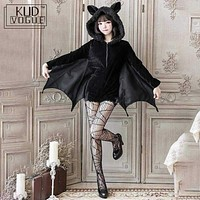 Halloween Black Vampire Bat Cosplay Costume Woman Black Evil Horror Hooded Vampire Bat Sleeve Cosplay Halloween Costumes Cos