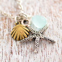 Starfish Necklace - beach necklace, sea shell necklace, ocean necklace, blue stone, antique silver, star fish, seashell