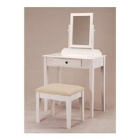 White Bedroom Vanity Table with Tilt Mirror & Cushioned Bench: Home & Kitchen