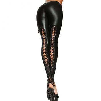 LEATHER LACE-UP LEGGINGS