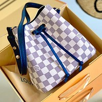 LV NEONOE white checkerboard bucket Louis Vuitton drawstring bucket bag White tartan Navy blue Shoulder strap
