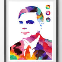 Alan Turing watercolor Print computer science father Alan Turing poster Alan Turing matematician computer pioneer and Code-Breaker tribute