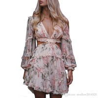 Summer Women Vocation Dress Sexy V-neck Chiffon Flower Print Pink Dress Backless Holiday Runway Dress High Qualiy Vestidos