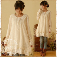 2017 New spring summer autumn Japanese style peter pan collar lace blouse Lolita design pullovers long sleeve top blusa vestido