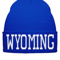WYOMING EMBROIDERY HAT - Beanie Cuffed Knit Cap