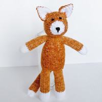 """Hand Knit Orange Marmalade Cat, Handmade Stuffed Animal Toy, Ready To Ship, Knit Toy, Plush Cat Doll, Toddler Gift, Baby Shower Gift 13 1/2"""""""