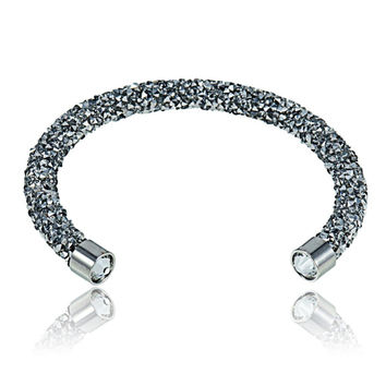 Flexible Crystal Sparkle Cuff Bangle Bracelet - Silver/Clear