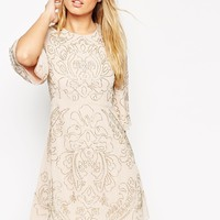 Needle & Thread Embellished Fleur Fluted Sleeve Dress