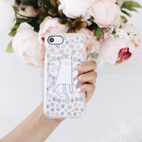 Cute iPhone 7 & 7 Plus Case (Cute Cat Making Angel in Bed of Flowers Pattern) by Casetify
