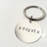 SALE Forever Keychain Hand Stamped Silver Guitar Pick Custom Personalized Mens Man Dude Guy Anniversary Birthday Fathers Day Gift Family Dad