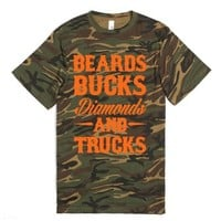 Beards, Bucks, Diamonds and Trucks-Unisex Green T-Shirt