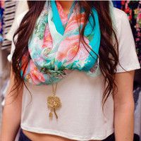 Hello Floral Infinity Scarf in Mint