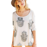 Printed Swallowtail T-shirt with Sleeve