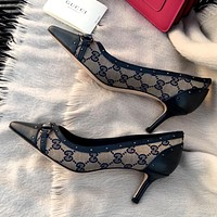 GUCCI Simple Women's Retro Wild High Heels Shoes