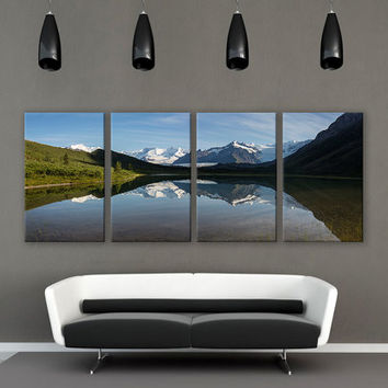 Scenic Landscape Lake Reflection Print 3 Panels Print Wall Decor Fine Art Nature Photography Repro Print for Home and Office Wall Decoration