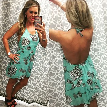 Floral Bandana Dress - Mint