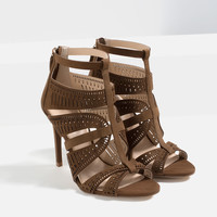 LEATHER STRAPPY HIGH HEEL SANDALS - View all-SHOES-WOMAN | ZARA United Kingdom