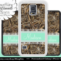 Camo Mint Lace Monogram Galaxy S5 S6 case S4 Tree Camo Custom Name Personalized Galaxy S3 Case Note 2 3 Cover Country Girl