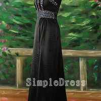 A-line Strapless Sleeveless Floor-length Satin Fashion Cheap Prom Dress / Evening Dress 2013 Split Front With Beading