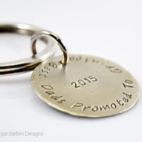Personalized Circle Keychain. Nickel Silver Keyring. Grandfather Gift. Baby Announcment. Double side engraved. Hand stamped Mens Gift.