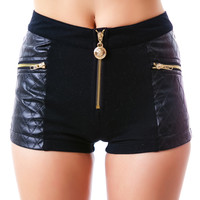 24HRS Classy Like Versayce Quilted Shorts Black