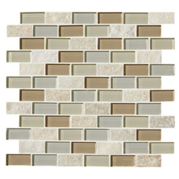 Shop American Olean Delfino Icy Mist Mixed Stone and Glass Mosaic Indoor/Outdoor Wall Tile (Common: 12-in x 12-in; Actual: 11.75-in x 12.68-in) at Lowe's