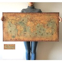 Large Vintage World Map Retro Wall Sticker