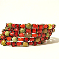 Red Bamboo Coral, Rainbow Marble & Crystal Wrap Bracelet - Red and Tan - Memory Wire Bracelet, Boho Bracelet