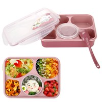 Lunch Bento Box Container, Iwotou Microwave and Dishwasher Safe Lunch Box with 5+1 Separated Containers (Pink)