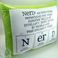 Nerd Pillow  Green Pleather by ShopGibberish on Etsy