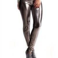 Metallic Gunmetal Leggings : Comfortable Legging Pants