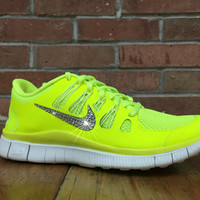 Women's Nike Free Run 5.0+ Running Jogging Training Shoes Customized With Swarovski Elements Crystal Rhinestones Neon Yellow Volt