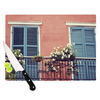 """Sylvia Cook """"New Orleans Balcony"""" Pink Blue Cutting Board"""