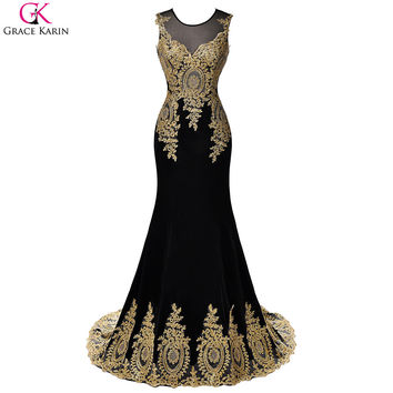 Blue Red White Black Mermaid Prom Dresses Grace Karin Luxury Gold Appliques Floor Length Party Dress Formal Gowns Prom Dresses