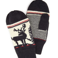 Patterned Knit Mittens Navy/Cream One