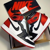 Nike Air Jordan 1 colorblock high-top sneakers basketball shoes