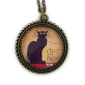 Vintage Le Chat Noir Art Cabaret Pendant Necklace