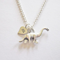 Dinosaur necklace, custom necklace, personalized animal jewelry initial dino dinosaur jewelry necklace, prehistoric, antique silver necklace