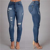 Women's Chic Fashion Jeans Outfit Button Ripped Zipper boyfriend Jeans