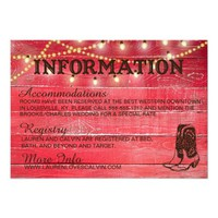 Country wedding Information Card for Rustic weddin