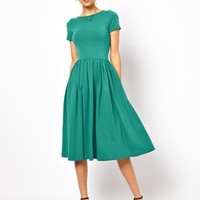 ASOS Midi Skater Dress With Short Sleeves