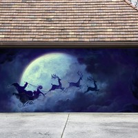 Christmas Garage Door Cover Banners 3d Santa In A Sleigh Holiday Outside Decorations Outdoor Decor for Garage Door G30
