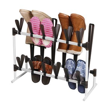 Home Basics Organizer and Shaper Sturdy Space Saving Rack for 12 Shoes, and 3 Pairs of Boots