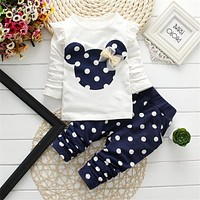 New 2017 Minnie Baby Sets Dot Kids Cloth Cotton Toddler Baby Girl Clothes Children Mickey Set Bowknot T-Shirt+Pant Just Bolato