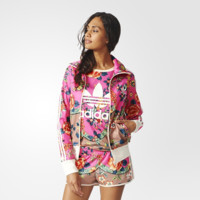 """Adidas"" Stripe Multicolor Floral Clover Print Long Sleeve Sportswear Cardigan Zip Jacket Coat"