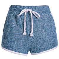 Blue Drawstring Pocket Design Mini Shorts