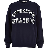 River Island Womens Navy sweater weather print sweatshirt
