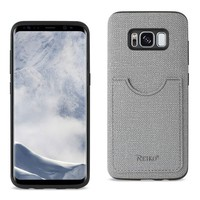 Reiko REIKO SAMSUNG GALAXY S8- SM ANTI-SLIP TEXTURE PROTECTIVE COVER WITH CARD SLOT IN GRAY