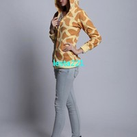 Pikachu/Giraffe Zip Up Hoodies Jacket Coat Sweatshirt Animal Costume Halloween