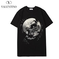 Valentino Summer New Fashion Letter Pattern Women Men Top T-Shirt Black